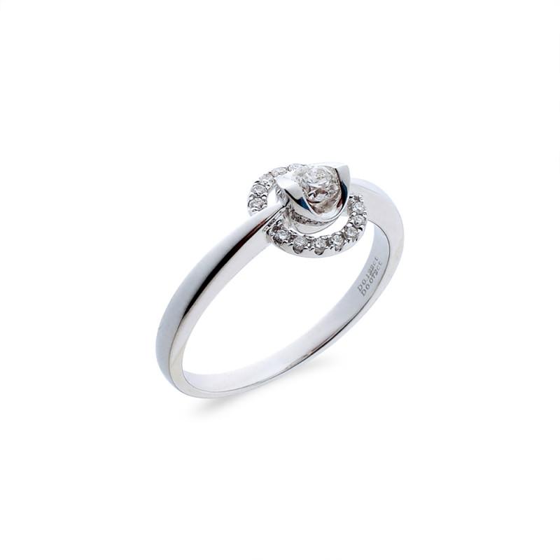 Δαχτυλίδι μονόπετρο Κ18 λευκόχρυσο - M718023
