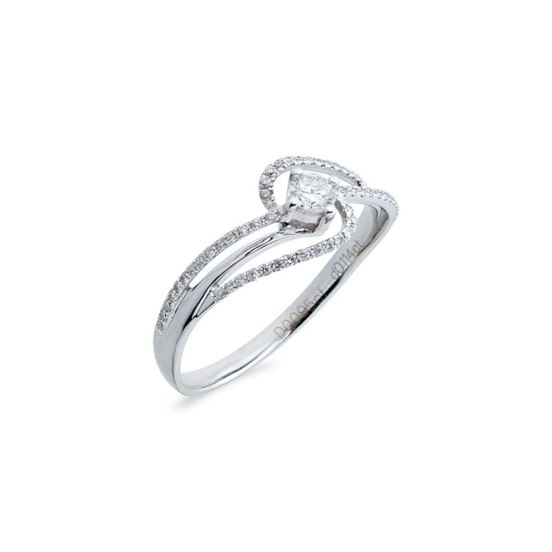 Δαχτυλίδι μονόπετρο Κ18 λευκόχρυσο - M718024