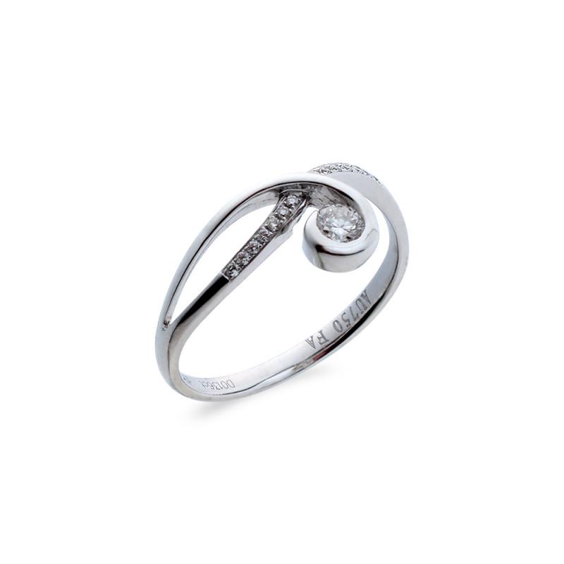 Δαχτυλίδι μονόπετρο Κ18 λευκόχρυσο - M718026