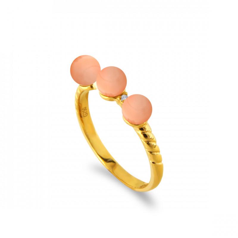 Δαχτυλίδι με κοράλλια σε χρυσό Κ18 - M121401