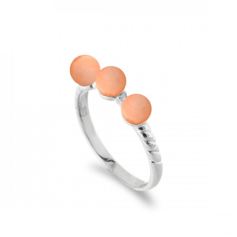 Δαχτυλίδι με κοράλλια σε λευκόχρυσο Κ18 - M121401W
