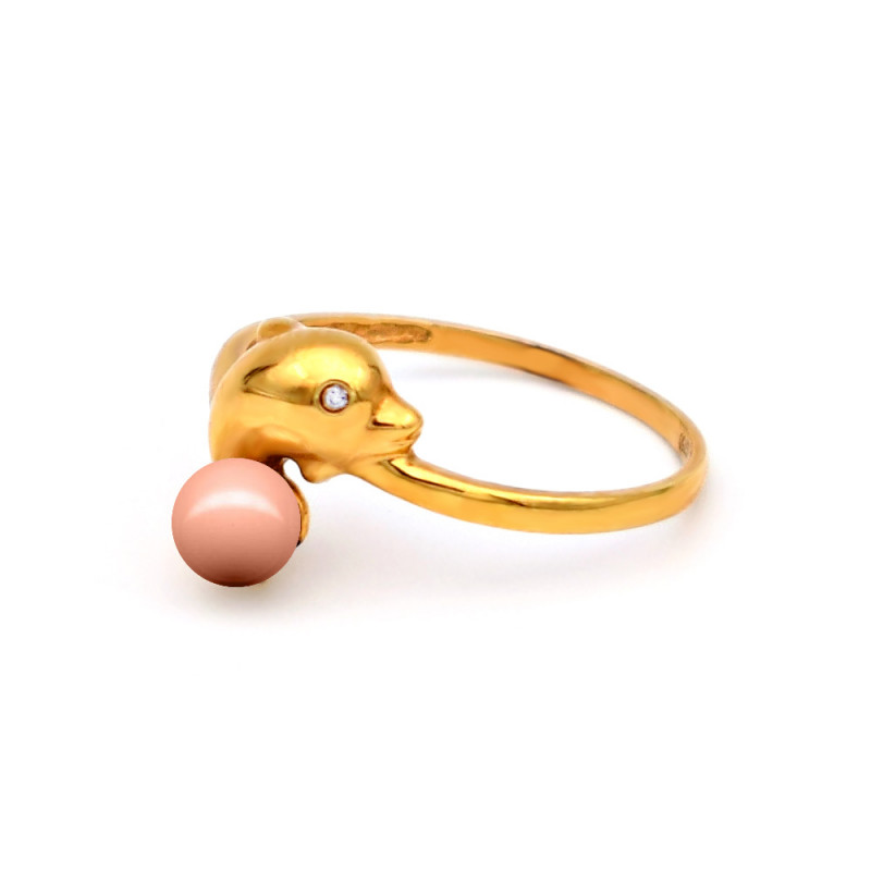 Δαχτυλίδι με κοράλλι σε χρυσό Κ18 - G313455