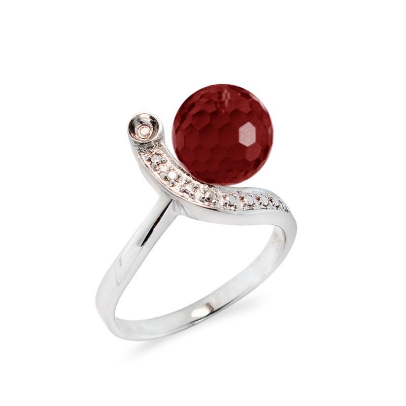 Δαχτυλίδι με Garnet και διαμάντια σε ασήμι 925 - M117747G