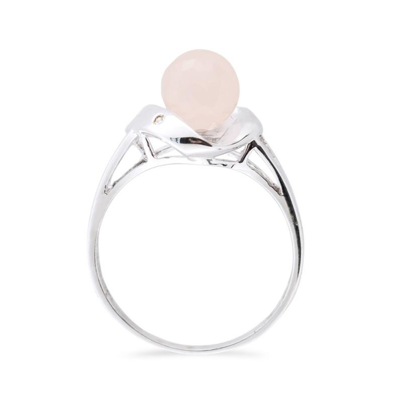 Δαχτυλίδι με Pink Quartz και διαμάντια σε ασήμι 925 - M117749PQ