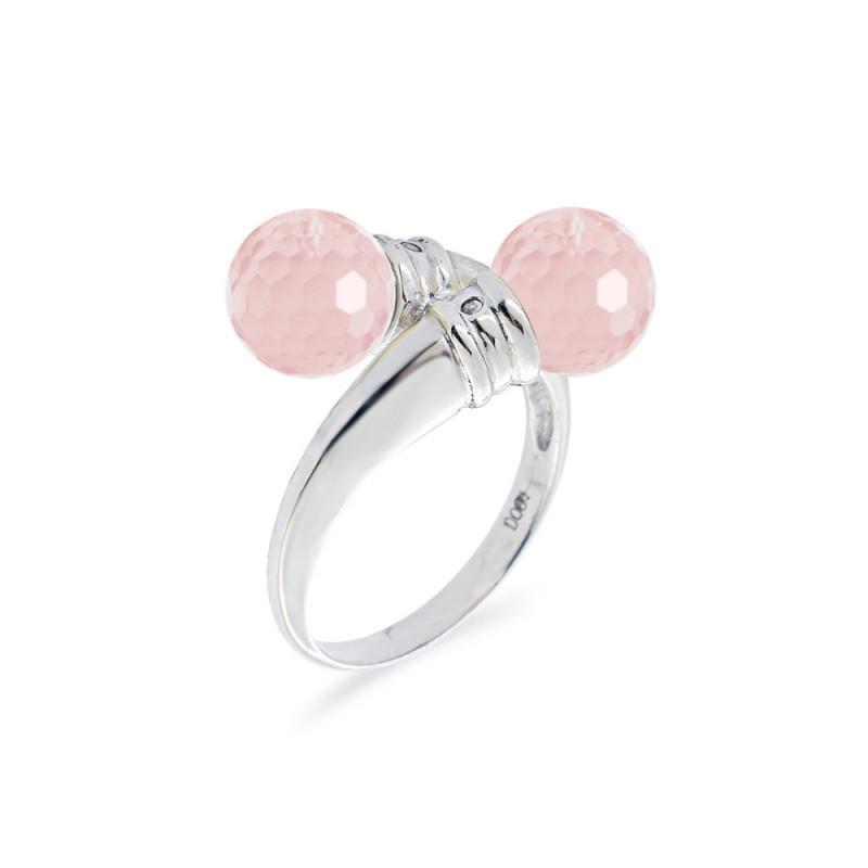 Δαχτυλίδι με Pink Quartz και διαμάντια σε ασήμι 925 - M117750PQ