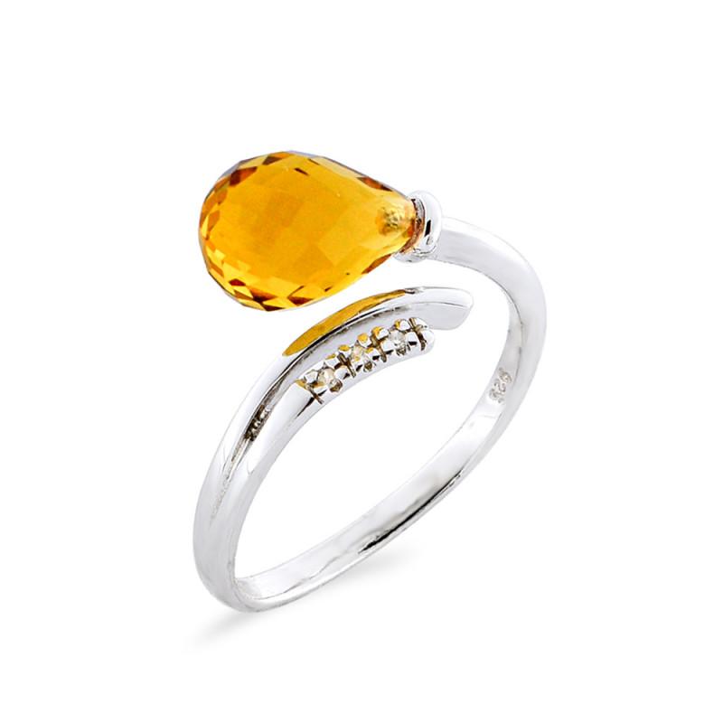 Δαχτυλίδι με Citrine και διαμάντια σε ασήμι 925 - M117753R