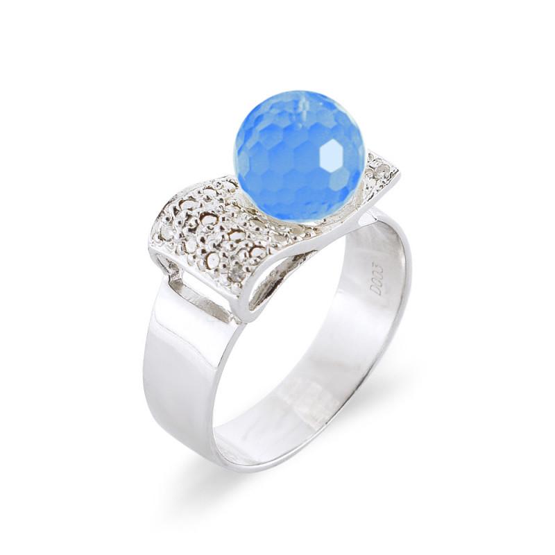 Δαχτυλίδι με Blue Topaz και διαμάντια σε ασήμι 925 - M117755BT