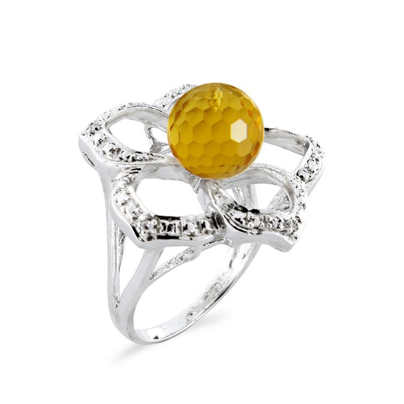 Δαχτυλίδι με Citrine και διαμάντια σε ασήμι 925 - M117764C