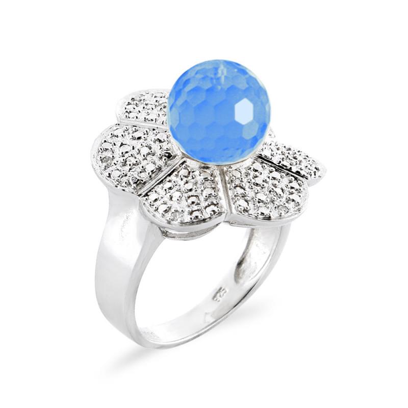 Δαχτυλίδι με Blue Topaz και διαμάντια σε ασήμι 925 - M117765BT
