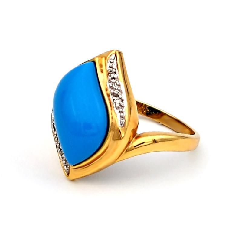 Δαχτυλίδι με Turquoise και διαμάντια σε χρυσό Κ14 - M303506