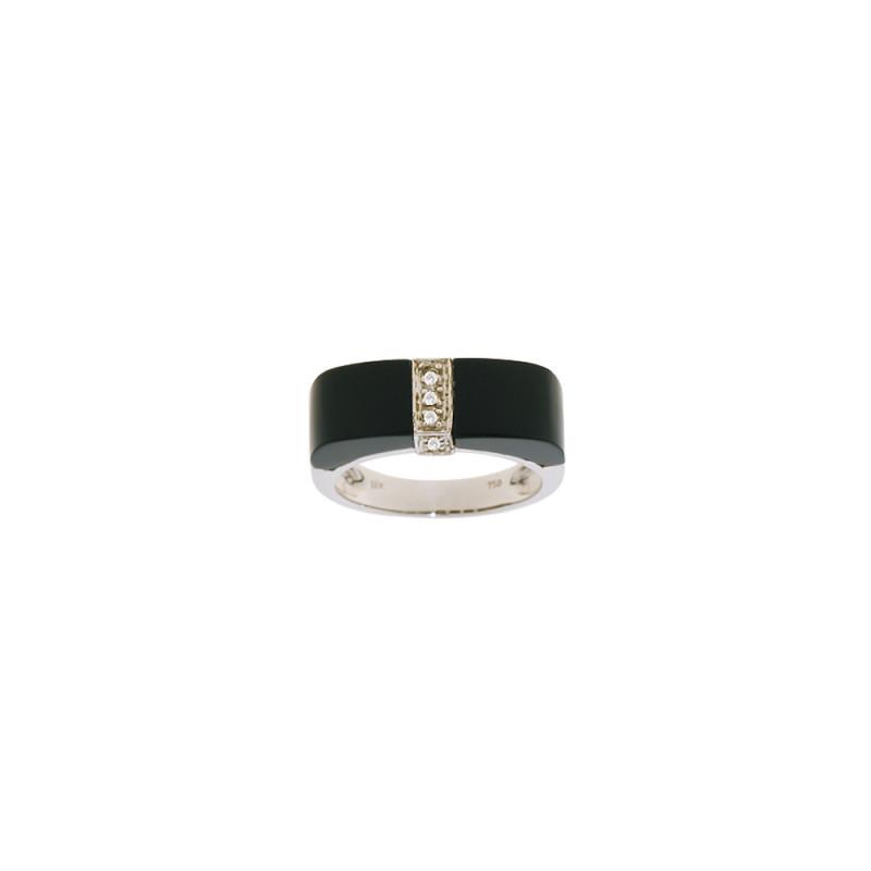 Δαχτυλίδι Κ18 Λευκόχρυσο με Onyx και Διαμάντια - M306751