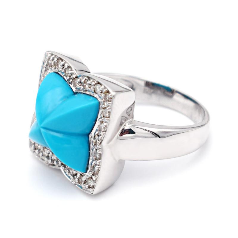 Δαχτυλίδι Κ18 Λευκόχρυσο με Turquoise και Διαμάντια - M306754