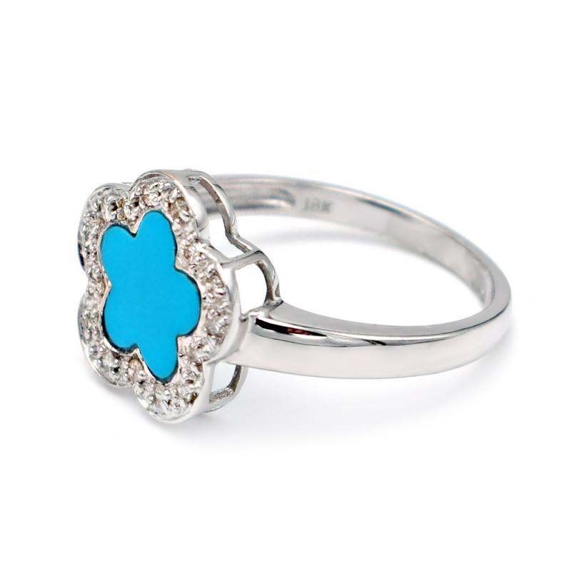 Δαχτυλίδι Κ18 Λευκόχρυσο με Turquoise και Διαμάντια - M306755