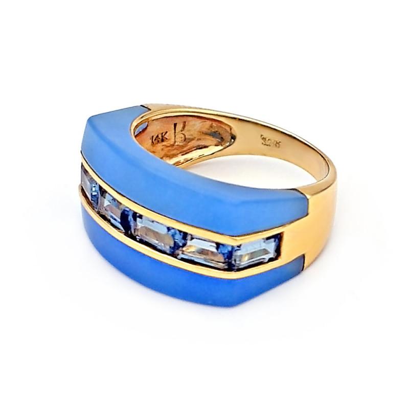 Δαχτυλίδι με Blue Topaz και Jade σε χρυσό Κ14 - M307920
