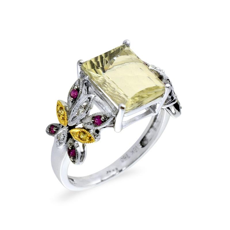 Δαχτυλίδι με Lemon Quartz, ζαφείρια και διαμάντια σε λευκόχρυσο Κ18 - M309458