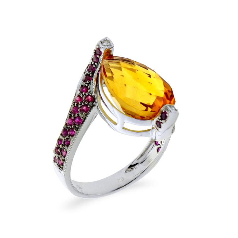Δαχτυλίδι με Citrine, ζαφείρια και διαμάντια σε λευκόχρυσο Κ18 - M309459
