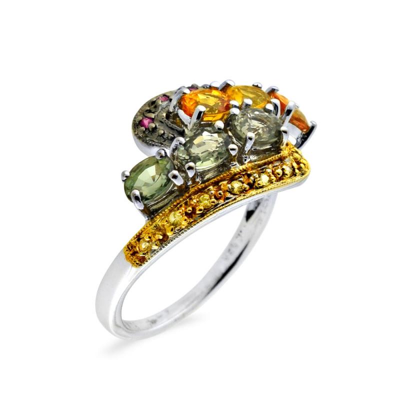 Δαχτυλίδι με πολύχρωμα ζαφείρια σε λευκόχρυσο Κ18 - M309462