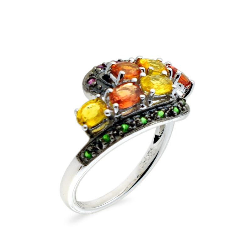 Δαχτυλίδι με πολύχρωμα ζαφείρια σε λευκόχρυσο Κ18 - M309467