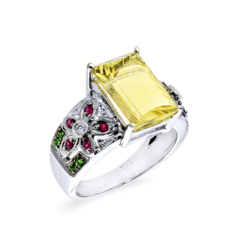 Δαχτυλίδι με Lemon Quartz, ζαφείρια και διαμάντια σε λευκόχρυσο Κ18 - M309472