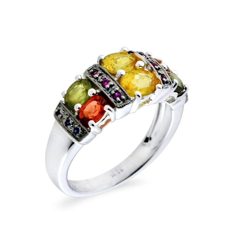 Δαχτυλίδι με πολύχρωμα ζαφείρια σε λευκόχρυσο Κ18 - M309474