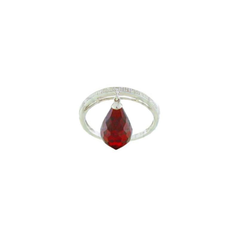 Δαχτυλίδι Κ18 λευκόχρυσο με Garnet και διαμάντια - W319256