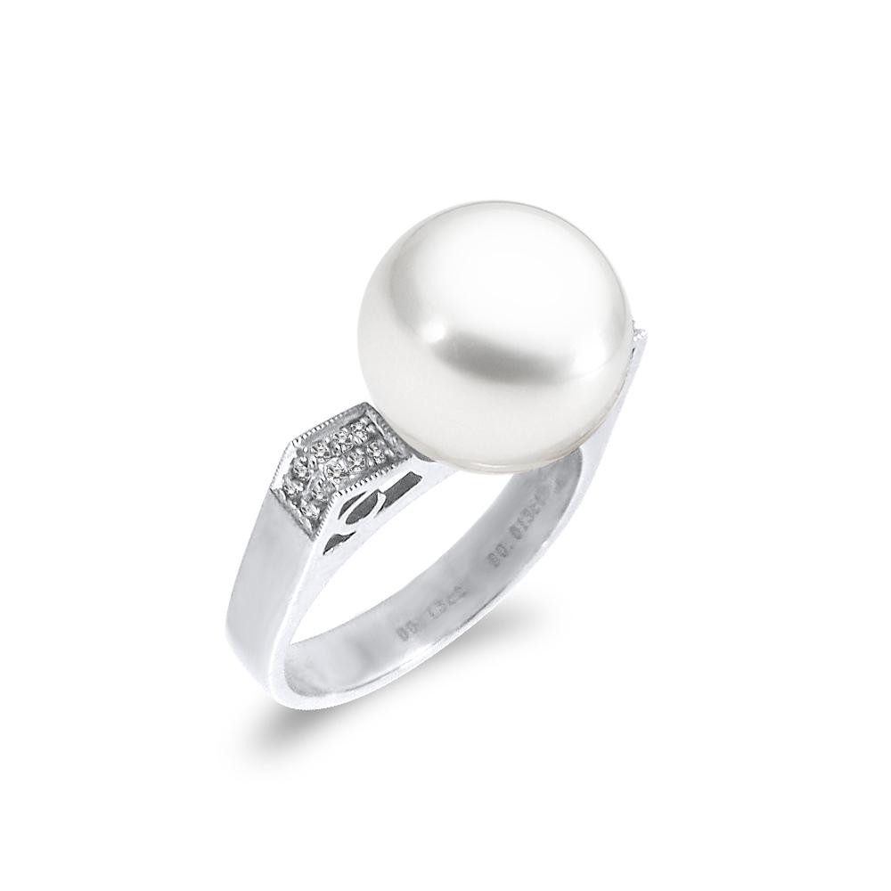 Δαχτυλίδι με μαργαριτάρι και διαμάντια σε λευκόχρυσο Κ18 - M319003 5c571e2744e