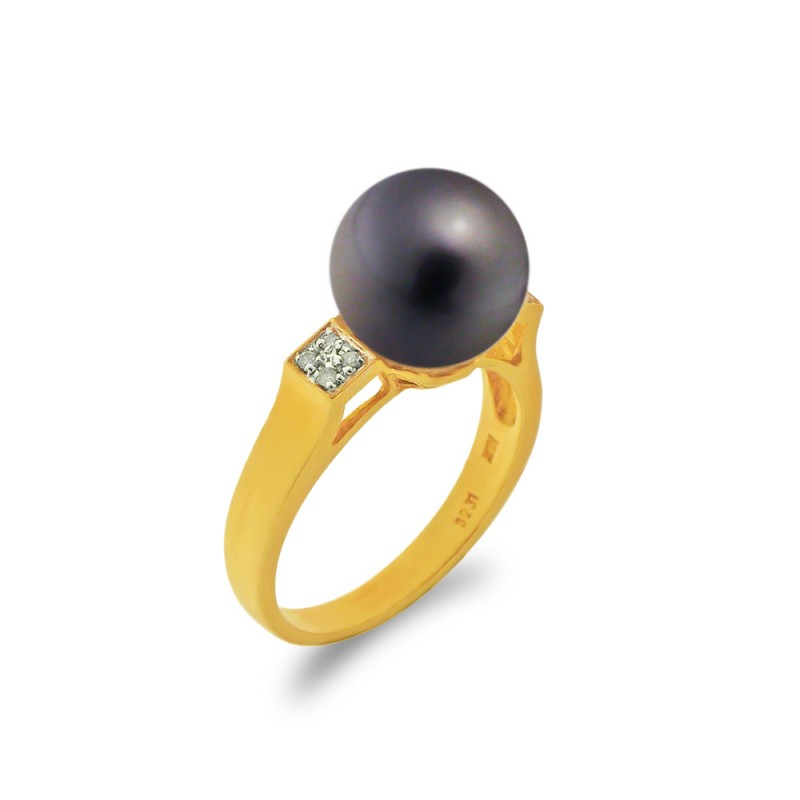 δαχτυλίδι με μαργαριτάρι και διαμάντια σε χρυσό Κ18 - G314242