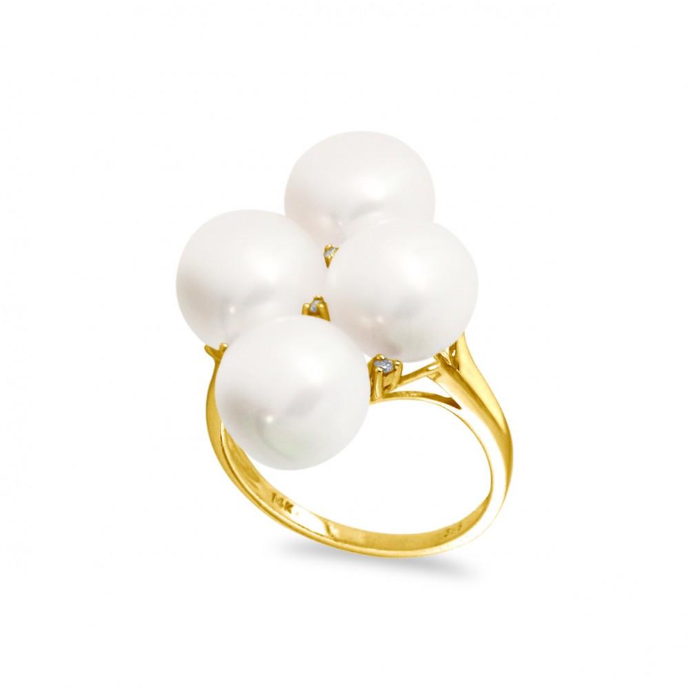 Δαχτυλίδι με μαργαριτάρια και διαμάντια σε χρυσό Κ18 - G316946 f0696c1504d