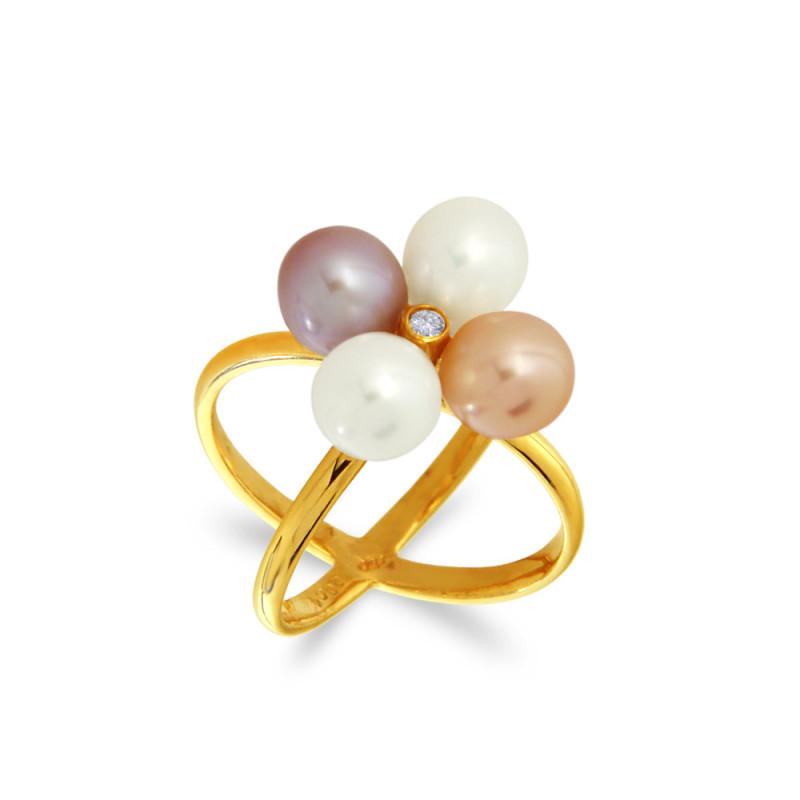 Δαχτυλίδι με μαργαριτάρια και διαμάντι σε χρυσό Κ18 - G317262