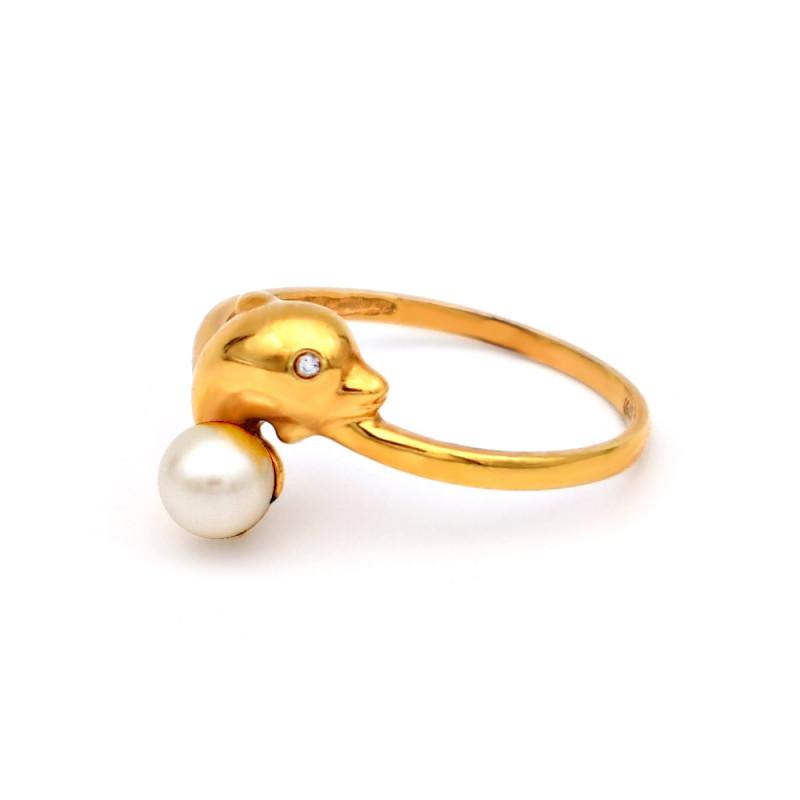 Δαχτυλίδι με μαργαριτάρι Akoya σε χρυσό Κ18 - G317274