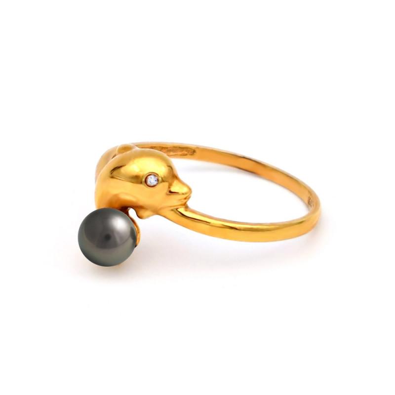 Δαχτυλίδι με μαύρο μαργαριτάρι Akoya σε χρυσό Κ18 - G317274B