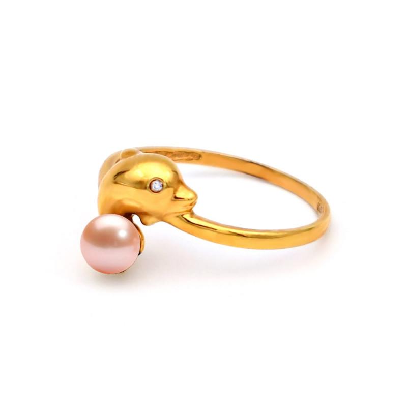 Δαχτυλίδι με σομόν μαργαριτάρι Akoya σε χρυσό Κ18 - G317274S