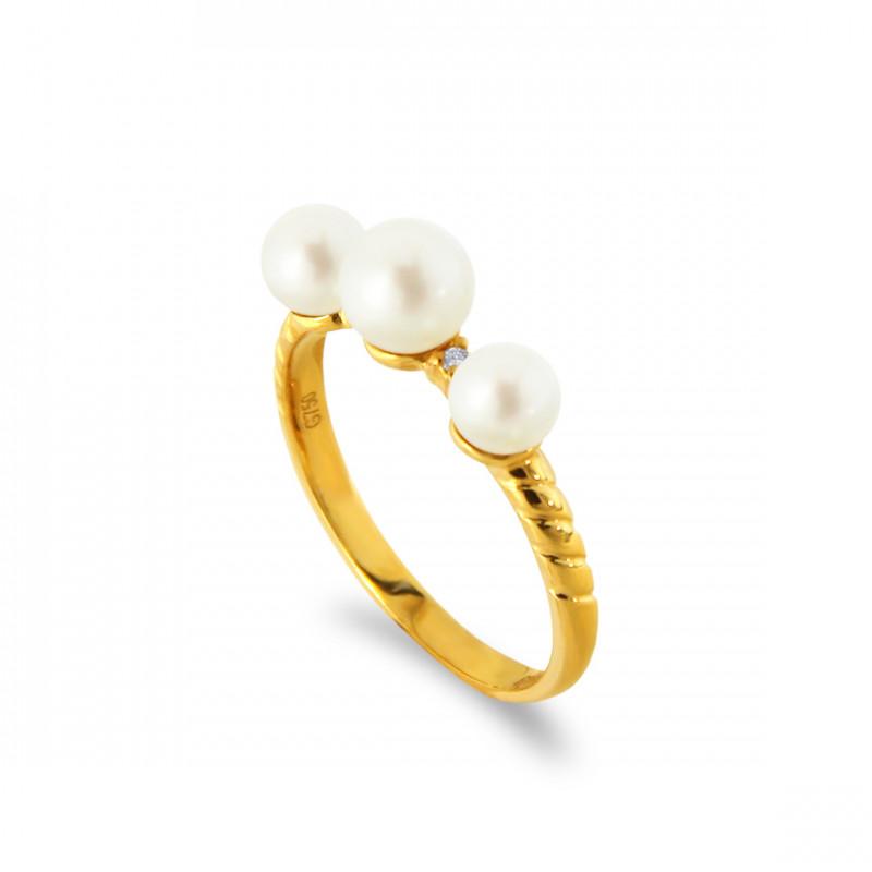 Δαχτυλίδι με μαργαριτάρια και διαμάντια σε χρυσό Κ18 - G317283