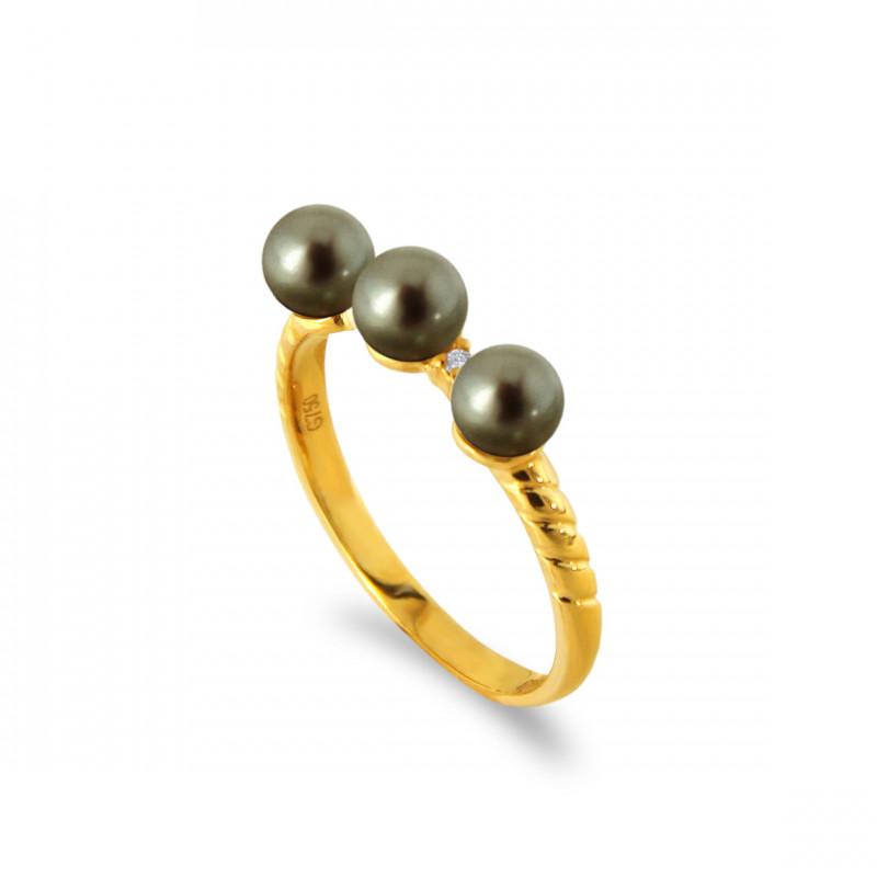 Δαχτυλίδι με μαργαριτάρια και διαμάντια σε χρυσό Κ18 - G317283B