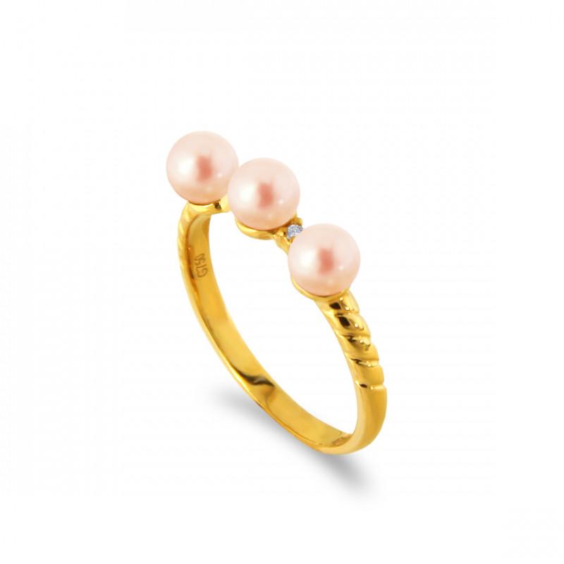 Δαχτυλίδι με μαργαριτάρια και διαμάντια σε χρυσό Κ18 - G317283S