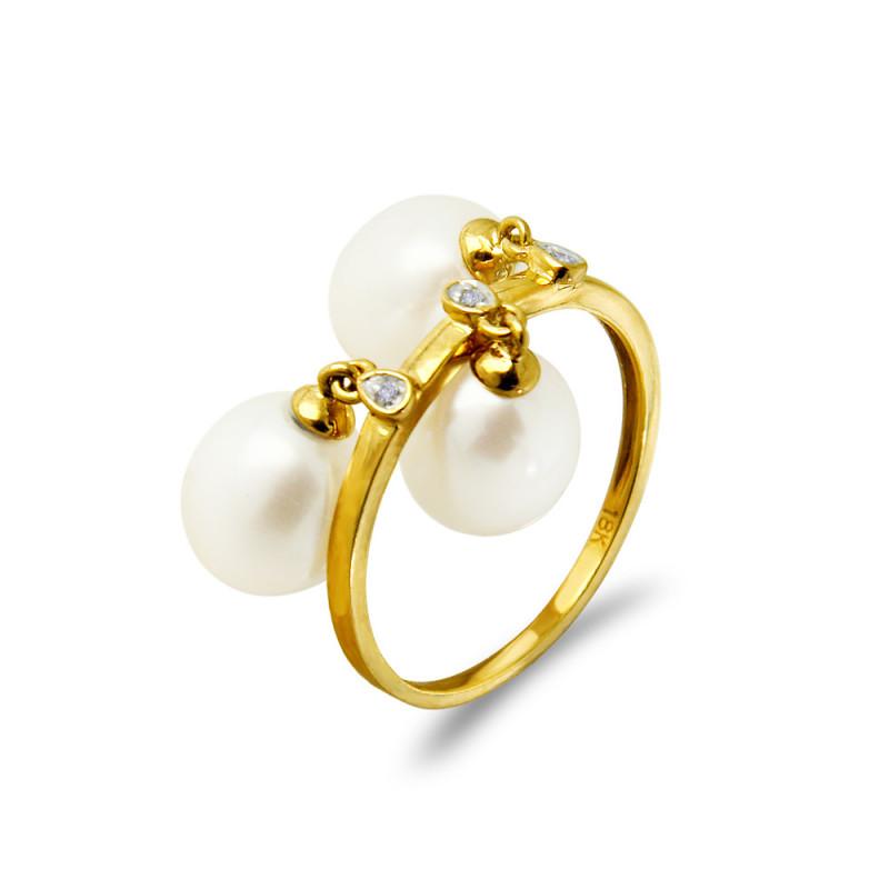 Δαχτυλίδι με μαργαριτάρια Fresh Water σε χρυσό Κ18 - G318441