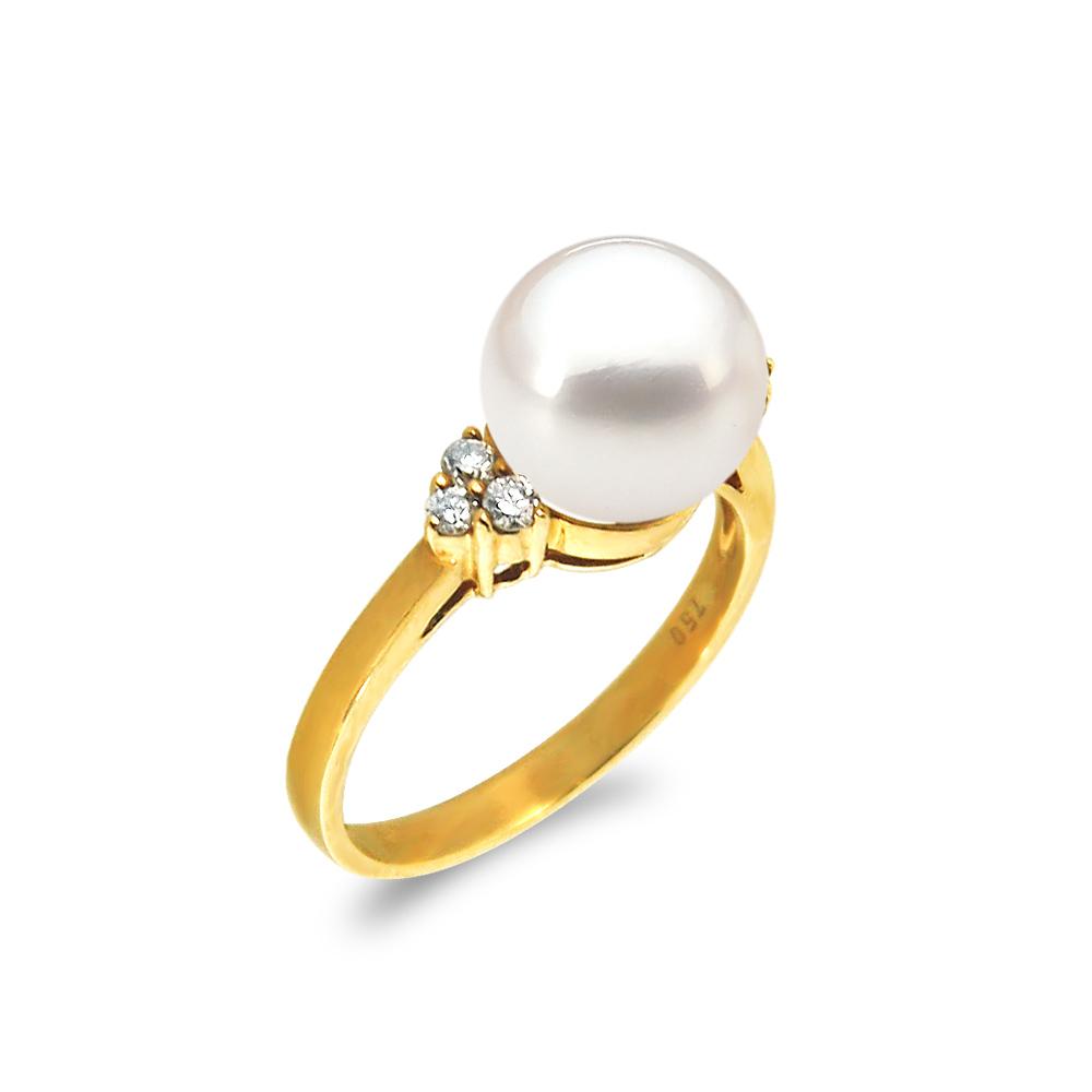 Δαχτυλίδι με μαργαριτάρι και διαμάντια σε χρυσό Κ18 - G319306 5ee9bfdbc52
