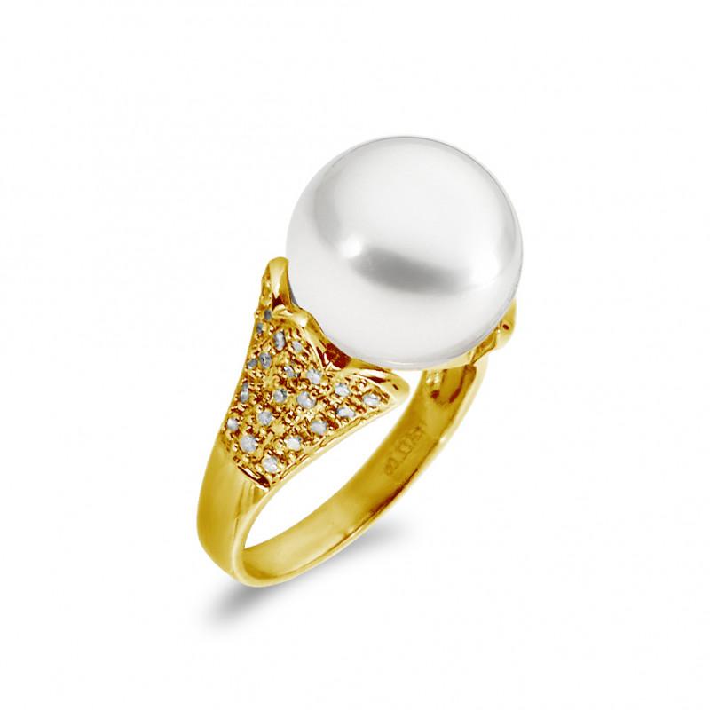 Δαχτυλίδι με μαργαριτάρι South Sea σε χρυσό Κ18 - G319390