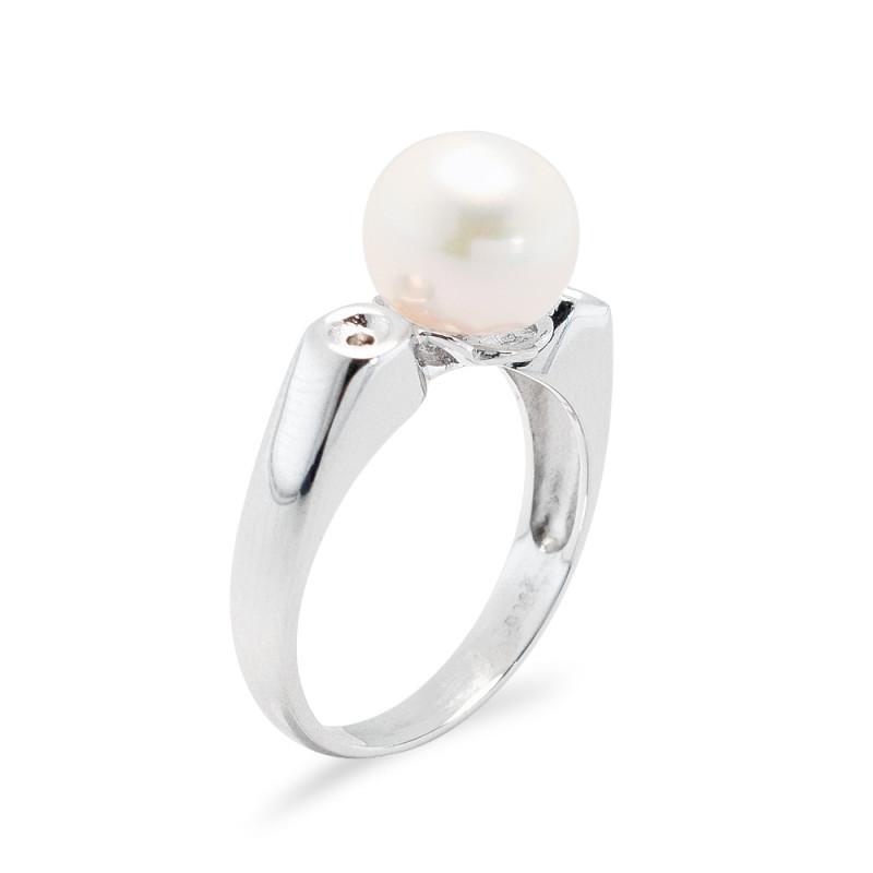 Δαχτυλίδι με μαργαριτάρι και διαμάντια σε ασήμι 925 - M117746R