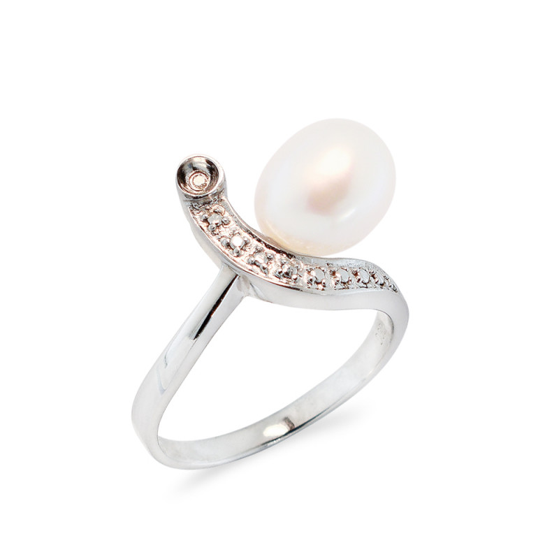 Δαχτυλίδι με μαργαριτάρι και διαμάντια σε ασήμι 925 - M117747R