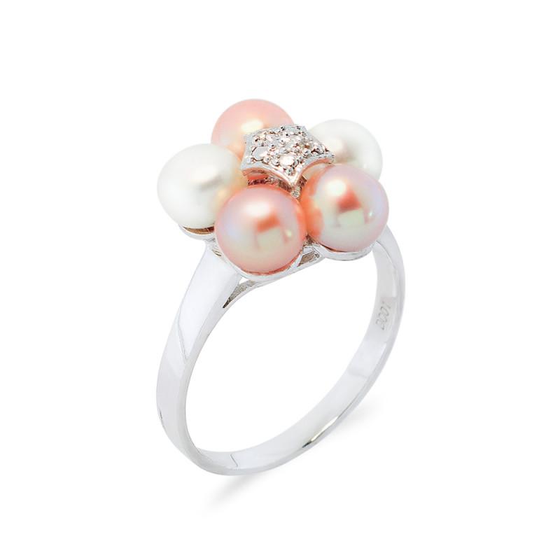 Δαχτυλίδι με μαργαριτάρια και διαμάντια σε ασήμι 925 - M117752R