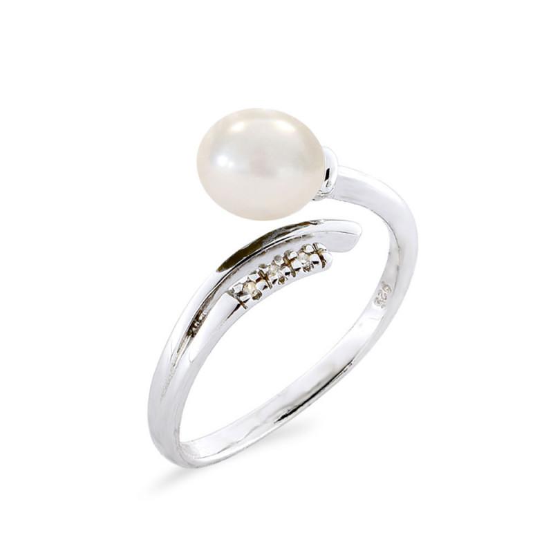 Δαχτυλίδι με μαργαριτάρι και διαμάντια σε ασήμι 925 - M117753P