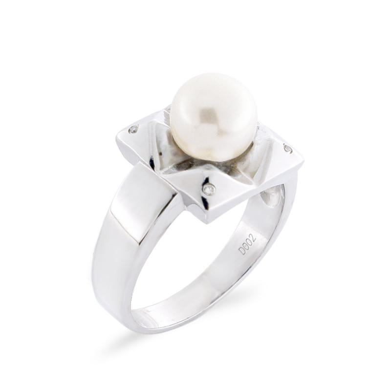 Δαχτυλίδι με μαργαριτάρι και διαμάντια σε ασήμι 925 - M117759R