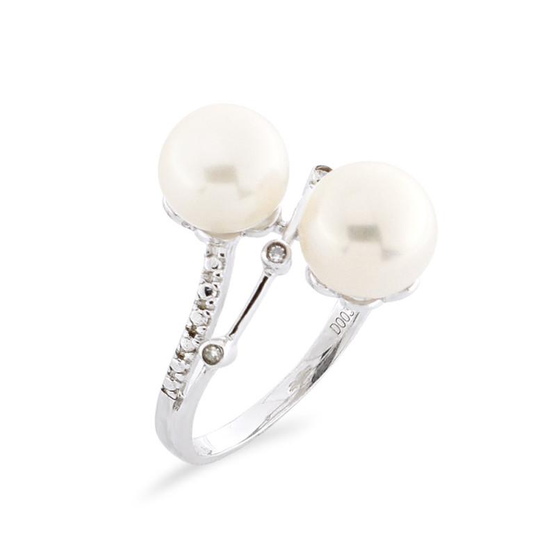 Δαχτυλίδι με μαργαριτάρι και διαμάντια σε ασήμι 925 - M117761R