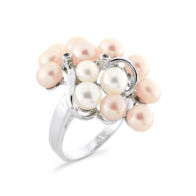 Δαχτυλίδι με μαργαριτάρια και διαμάντια σε ασήμι 925 - M117763R