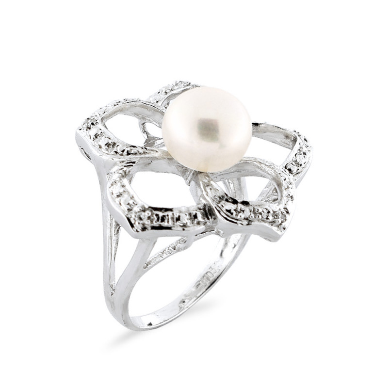 Δαχτυλίδι με μαργαριτάρι και διαμάντια σε ασήμι 925 - M117764R