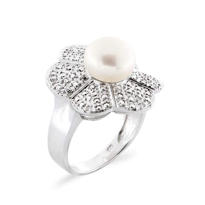 Δαχτυλίδι με μαργαριτάρι και διαμάντια σε ασήμι 925 - M117765R