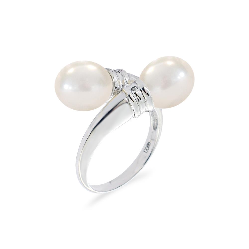Δαχτυλίδι με μαργαριτάρια και διαμάντια σε ασήμι 925 - M117780 3bf0ee2f426