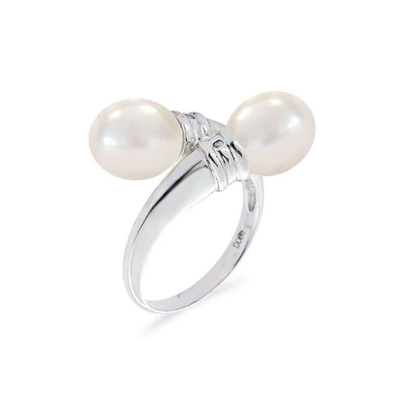 Δαχτυλίδι με μαργαριτάρια και διαμάντια σε ασήμι 925 - M117780