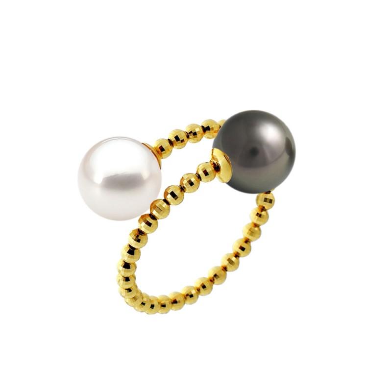 Δαχτυλίδι με άσπρο και μαύρο μαργαριτάρι Akoya σε χρυσό Κ18 - M123646